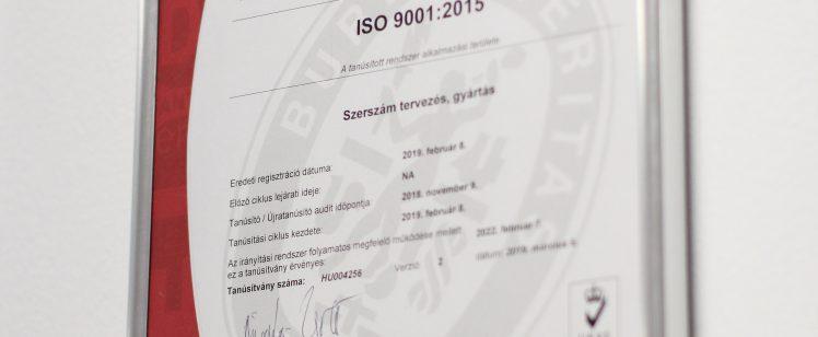 Cégünk ISO 9001 : 2015 minősítést szerezett